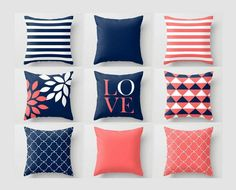 Throw pillow covers, navy coral pillows, cushion covers, home decor, mix an Interior Design Living Room, Living Room Decor, Bedroom Decor, Living Rooms, Cushion Covers, Throw Pillow Covers, Toss Pillows, Cushion Pillow, Home Design