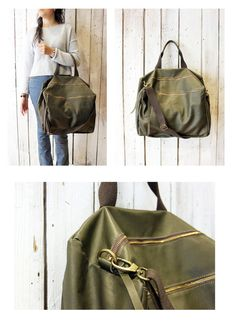"Handmade Italian Vintage Leather Luggage ""luggage green"" di LaSellerieLimited su Etsy"