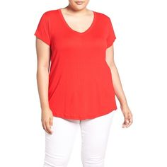 Plus Size Women's Sejour Short Sleeve V-Neck Tee ($29) ❤ liked on Polyvore featuring tops, t-shirts, plus size, red bloom, red top, v neck t shirts, plus size v neck t shirts, plus size tees and v-neck tee