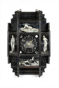 1879 wall clock - Lewis F. Day, the writer and critic, was also a commercial designer, working on commission for manufac The Woodman, Small Clock, Day Lewis, Grisaille, Decorative Panels, Victorian Art, Art For Art Sake, Victoria And Albert Museum, Commercial Design
