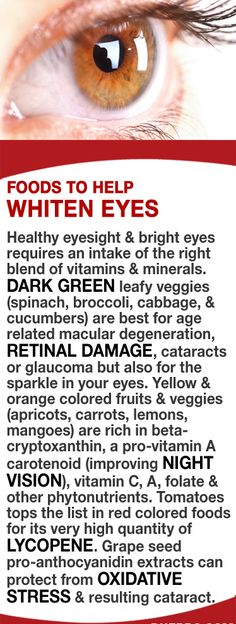 Healthy eyesight & bright eyes requires an intake of the right blend of vitamins & minerals. Dark green leafy veggies are best for age related macular degeneration, retinal damage, cataracts or glaucoma & for the sparkle in your eyes. Yellow & orangefruits & veggies are rich in a pro-vitamin A carotenoid (improves night vision), vitamin C, A, folate & other phytonutrients. Tomatoes are very high in lycopene. Grape seed extracts can protect from oxidative stress & cataract.