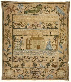 "This ""famous to stitchers"" sampler (Elizabeth Sheffield) is up for grabs later this month at Sotheby's.  The Scarlet Letter has reproduced this as a chart/kit.  It is estimated this sampler will sell for $25,000-$35,000.  That bird at the top makes me happy."