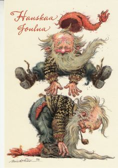 Eva Melhuish,Kjell E.Midthun,not for trade Swedish Christmas, Scandinavian Christmas, Christmas Elf, Vintage Christmas, Xmas, Yule, Christmas Illustration, Illustration Art, Goblin Art
