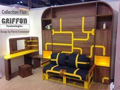 Lit relevable, Collection FLUX, Marque Griffon Technologies, design  by Pierre Furnemont design Studio #Lit #Mobilier #Griffon #Canapé