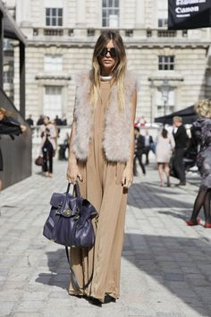 maxi dress / fur vest / wear your summer dress with long sleeve top and vest >> summer to fall outfit remix