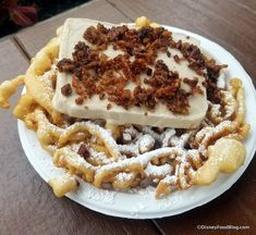 This year-round kiosk in the American Adventure Pavilion is serving up a Maple Bacon Funnel Cake for the Festival this year! 2018 Epcot Food and Wine Festival Candied Bacon, Maple Bacon, Wine And Food Festival, Epcot Food, Cake Toppings, Disney Food, Wine Recipes, Funnel Cakes, Sweets