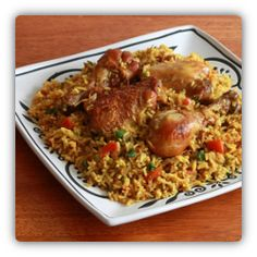 Chicken Machboos is national food (dish) of Bahrain. Click through for recipe.