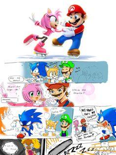 Mario and Amy Sochi 2014 by Drawloverlala laughed so hard at this XD