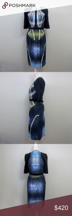 """Peter Pilotto graphic sheath dress SS12 Peter Pilotto sheath dress with half length sleeves, in colorful graphic abstract print. Black, blue, green, gray color palette. Scuba zipper on bust, hidden rear zipper closure, belt with snap at waist. Fully lined. Euro size 12. Spring/Summer 2012.  EUC no stains, holes, pilling, fading or other signs of wear.  Approx. measurements, taken while garment lying flat: Bust: 15.5"""" Waist: 13.5"""" Length: 42"""" (from shoulders)  Offers always welcome :) Peter…"""