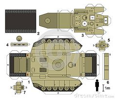 Illustration about Paper model of a tank, not a real type, vector illustration. Illustration of vector, tracked, army - 64990420