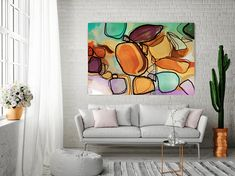 Memories in Bloom. Orange Green Art Wall Decor Extra Large