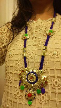 Dull gota Maala with muti color beads. Handmade Accessories, Handcrafted Jewelry, Women Accessories, Fancy Jewellery, India Jewelry, Fabric Jewelry, Diy Earrings, Jewelry Patterns, Jewelry Crafts