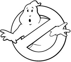 Ghostbusters Logo Black And White Pumpkin Stencil Carving Cake Template