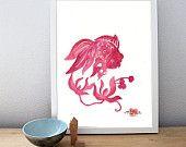 "RED GOLDFISH, Original Chinese Watercolor - 8"" x 10"" Original, Chinese Paper cut Goldfish with Flowers"
