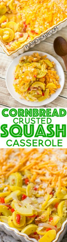 Cornbread Crusted Squash Casserole - so delicious! Easy homemade squash casserole topped with a cheddar and cornbread crust. Everyone went back for seconds. Onion, Squash, pimentos, bacon, cornbread and cheddar cheese. Can make ahead of time and refrige Potluck Recipes, Side Dish Recipes, Dinner Recipes, Cooking Recipes, Dinner Ideas, Uk Recipes, Meal Ideas, Recipies, Vegetable Side Dishes