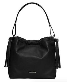 Women's Shoulder Bags - Michael Kors Angelina Large Leather Shoulder Bag Black >>> For more information, visit image link.