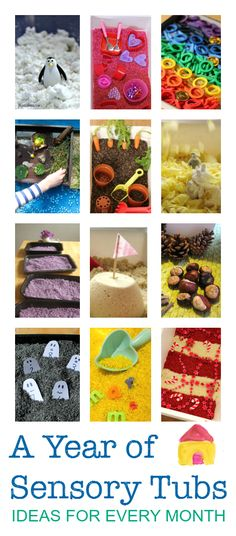 Seasonal sensory tubs for every month - great sensory play ideas, messy play activities for babies, toddlers, preschool and older.