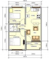 plano de casa de 2 dormitorios plano de 1 piso