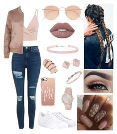 """""""Rosey """" by leilani14 on Polyvore featuring Topshop, River Island, Miss Selfridge, Ray-Ban, Lime Crime, Givenchy, Vivienne Westwood, Michael Kors, adidas and Casetify"""