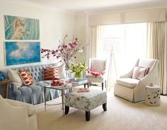 "Too many chair and table legs can make a room ""nervous."" A skirted piece or two will make it feel ""grounded."" Advice from: Melissa Warner. housebeautiful.com"