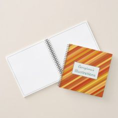 Name  Goldfish-Inspired Colored Stripes Pattern Notebook - pattern sample design template diy cyo customize