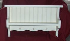Shelf, wooden, shabby chic,  french country, english cottage, beachy, buttermilk, wainscotted shelf.