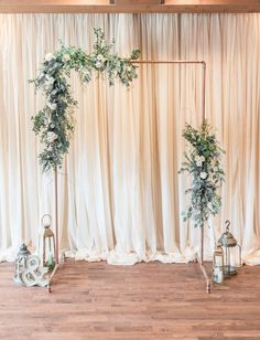 Minimalist wedding copper wedding arch arbor greenery wedding flowers eucalyptus greenery