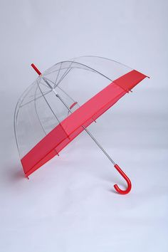 """I don't know why, but I""""m obsessed with clear umbrellas... I don't even own one though haha, but I lovve the pink on this one!"""