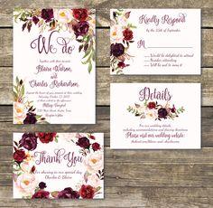 Printable Wedding Invitation - DIY Floral Watercolor Wedding -Burgundy / Marsala / Wine Rustic Wedding Invitation - Printed Wedding by magnoliapapersandco on Etsy https://www.etsy.com/listing/509563113/printable-wedding-invitation-diy-floral