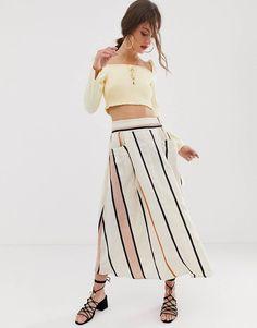 Discover midi skirts with ASOS. Shop from a range of pleated, A-line skirts, calf length skirts and other midi skirt styles. Shop today at ASOS. Midi Sundress, Satin Midi Skirt, Smock Dress, Pop Fashion, Fashion Prints, Trendy Fashion, Asos, High Waisted Bikini Bottoms, High Waisted Skirt