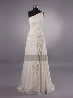 Champagne Draped Wedding Dress