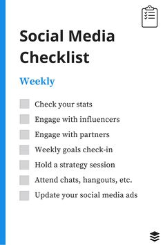 A Daily, Weekly, Monthly Social Media Checklist - Weekly social media checklist - Social Media List, Le Social, Social Media Analytics, Social Media Marketing Business, Social Media Content, Marketing Ideas, Social Media Posting Schedule, Marketing Strategies, Design Social