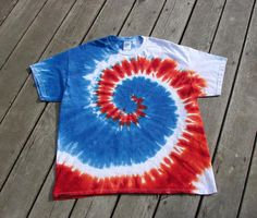 Tye Dye Swirl Tee  Adult Extra Large  Red White & Blue by MoonDyes