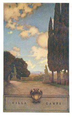 "Maxfield Parrish (American, 1870-1966). 'Villa Campi' from ""Italian Villas and Their Gardens"" by Edith Wharton (1904)"
