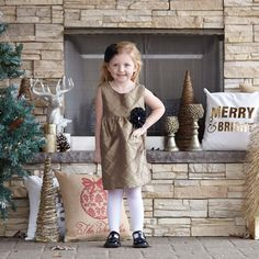 Girls Gold Bronze Taffeta Ava Dress – Lolly Wolly Doodle