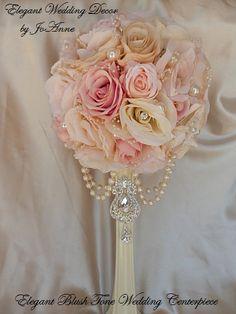 PAIR WEDDING CENTERPIECES Blush Pink Mix by Elegantweddingdecor