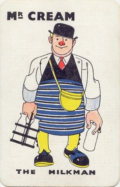 Mr Cream, the milkman from KAY Snap Card Game (circa 1930s), United Kingdom