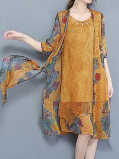 Only US$43.99 shop elegant two pieces set print chiffon dress at Banggood.com. Buy fashion floral dresses online. - Banggood Mobile