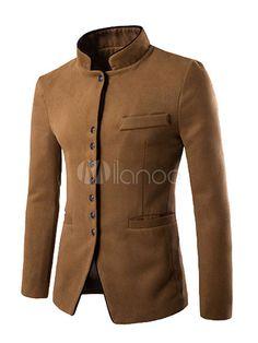 New style autumn winter men casual suit men pop Stand collar Worsted Fabric pocket Button decorate men's Leisure suit coat 162 Blazers For Men Casual, Casual Blazer, Casual Suit, Casual Jackets, Casual Wear, Suit Fashion, Mens Fashion, Moda Pop, Indian Men Fashion