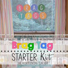 Get these FREE brag tag circle letters plus other decor in this kit! [Resource from The Husky Loving Teacher]