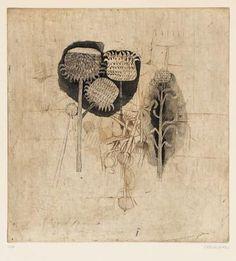 'Thistles' (c.1970) by Polish artist & printmaker Johnny Friedlaender (1912-1992). Etching & aquatint, 365 x 425 cm. via Ader Nordmann