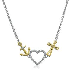 1/10 ct. tw. Diamond Anchor, Heart & Cross Necklace in Sterling Silver & 14K Gold
