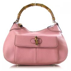 GUCCI Leather Bamboo Top Handle Shoulder Bag Pink.