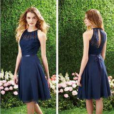 Midnight Blue / Dark Navy Knee-Length Dress.