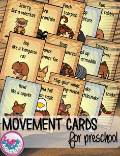 These desert animal themed movement cards will keep your students active while they're excited for the weather to warm up! Move like a coyote, meerkat, rattlesnake, armadillo, scorpion, gila monster and more! Keep those excited little ones busy indoors when it's too rainy to go outside! All while teaching them about different actions, animal names and improving their gross motor skills! Put on some music and let your kids dance!