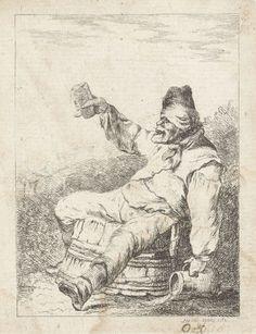 Dronken man zittend op een vat, Sophia Wilhelmina Evans, 1782 (Rijksmuseum) oude scheldwoorden