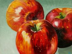 Apples 15 painting 18x24 inch original still life oil door RozArt, $225.00   45.5 cm x 60.5 cm