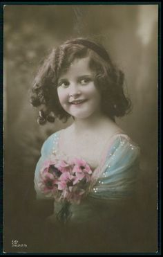 Beautiful Edwardian Child Girl Head band fantasy vintage old 1910 photo postcard