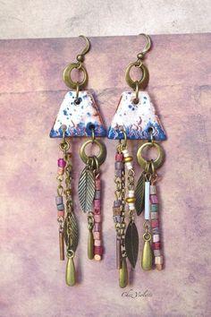 Gypsy earrings Ceramic Boho jewelry Hippie chic by @cocoflower