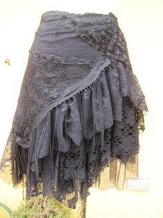 "vintage inspired extra shabby gothic cotton wrap skirt/shawl...a work of art and love...50"" across"